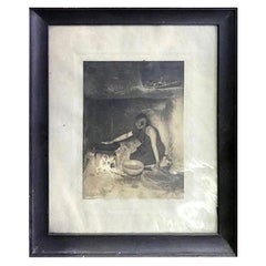 Edward S. Curtis Original Signed and Stamped Silver Toned Platinum Print, 1906
