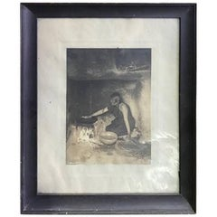 Edward S. Curtis Original Signed and Stamped Silver Toned Platinum Print