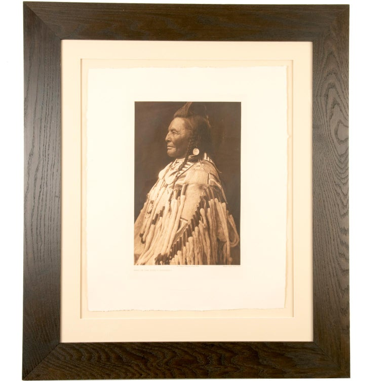 Paper Edward S. Curtis Shot In The Hand, Apsaroke, Photogravure Plate No. 133 For Sale