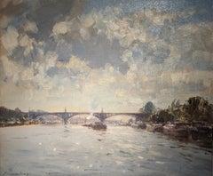 'Bridge at St. Oeun' Landscape painting of a river, bridge and architecture.