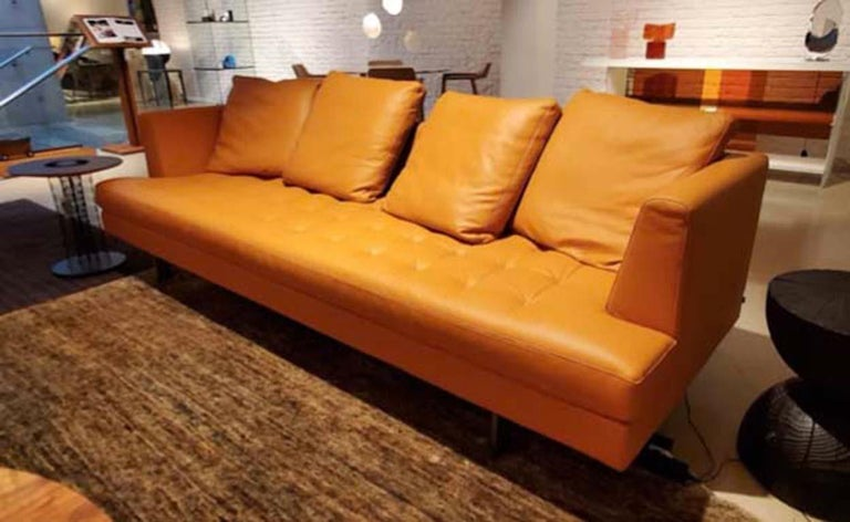 Modern Edward Sofa in Orange Leather, by Niels Bendtsen from Bensen For Sale
