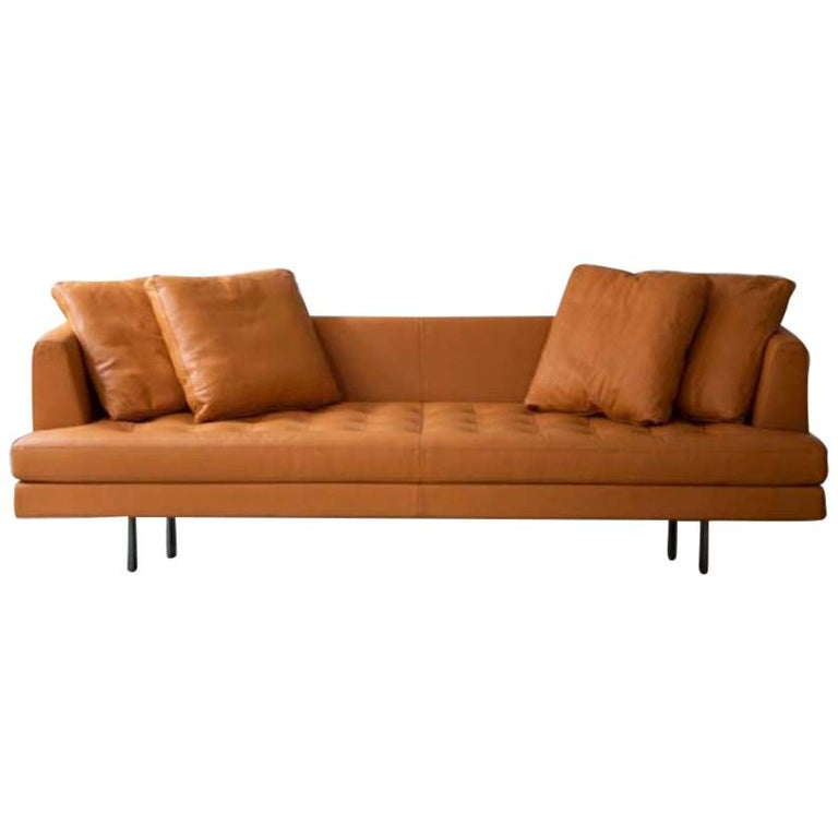 Edward Sofa in Orange Leather, by Niels Bendtsen from Bensen For Sale