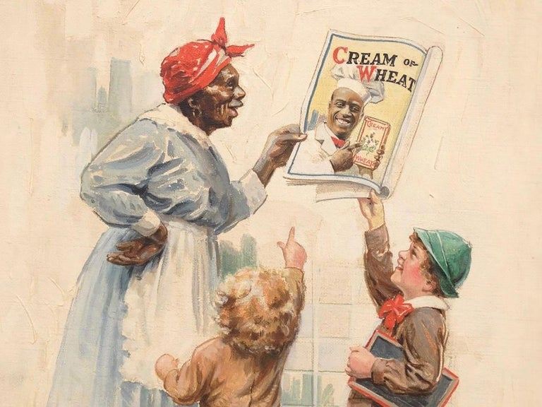 Original Cream Of Wheat Advertisement Illustration for Saturday Evening Post's May 5th issue, 1920.  Oil on canvas. Ex: Kraft Food Collection / Morton Grove Ill.. Note face of figure applied by artist.