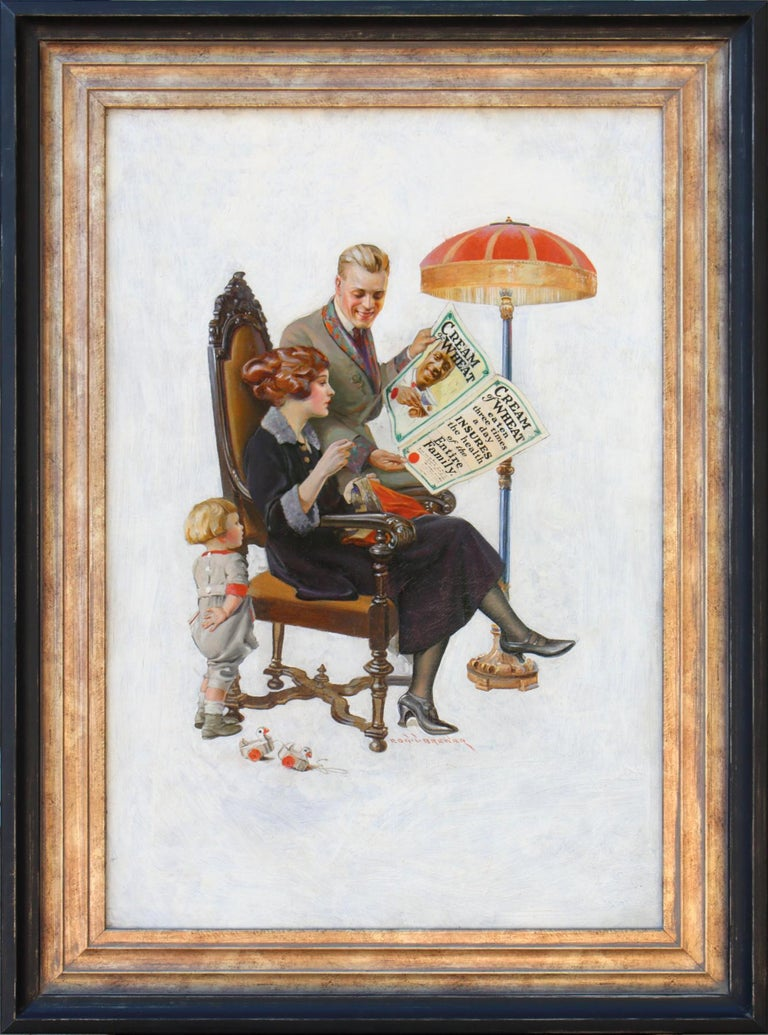Cream of Wheat Family Health Insurance Policy Ad - Painting by Edward Brewer