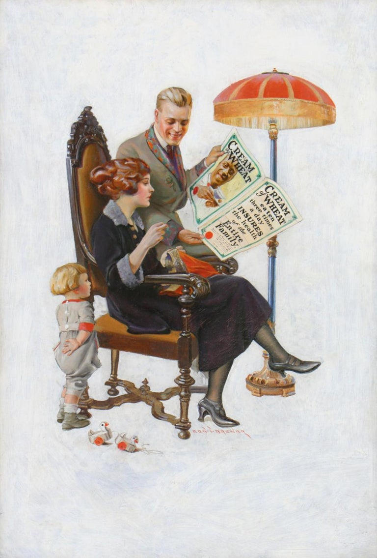 Edward Brewer Figurative Painting - Cream of Wheat Family Health Insurance Policy Ad