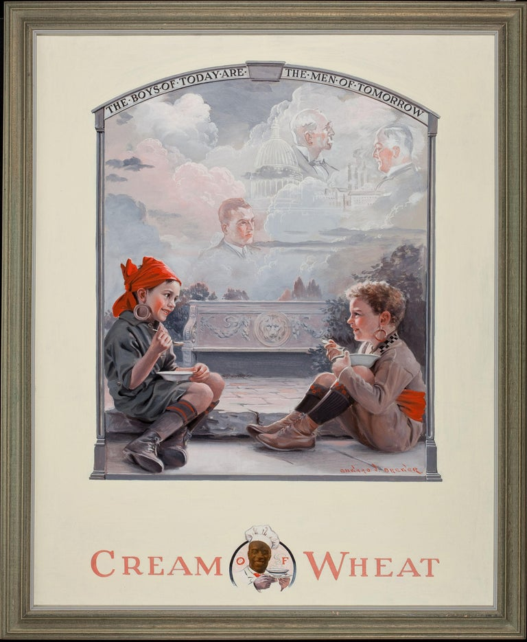 The Boys of Today Are the Men of Tomorrow, Cream of Wheat Advertisement - Painting by Edward Brewer