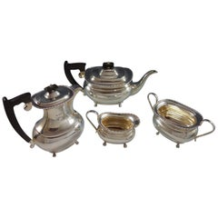 Edward Viners English Sterling Silver 4-Piece Tea Set with Carved Ebony