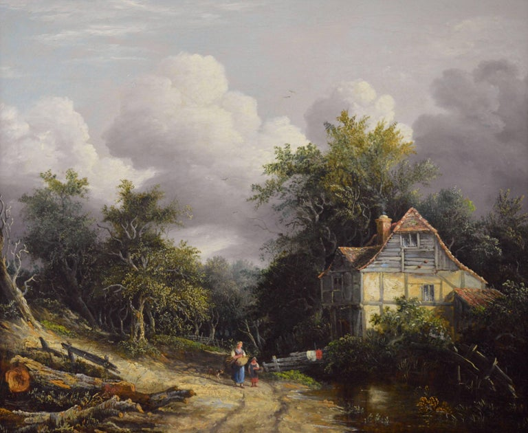 19th Century oil painting of a cottage in a wooded landscape - Painting by Edward Williams