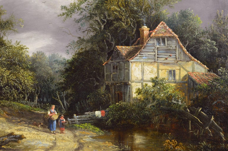19th Century oil painting of a cottage in a wooded landscape - Victorian Painting by Edward Williams