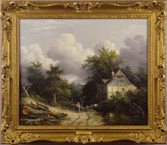 19th Century oil painting of a cottage in a wooded landscape