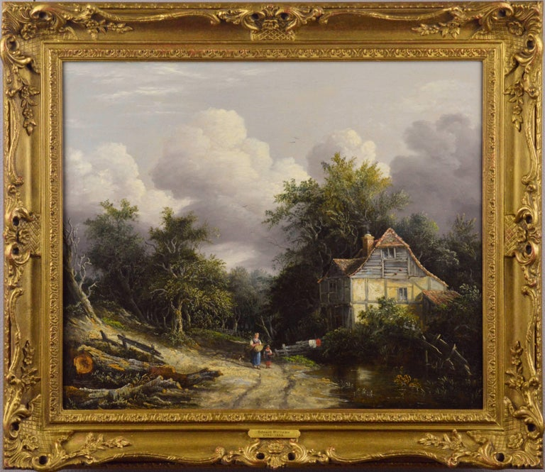 Edward Williams Landscape Painting - 19th Century oil painting of a cottage in a wooded landscape