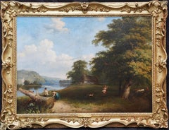 Thames Pangbourne Landscape - British Victorian art riverscape oil painting