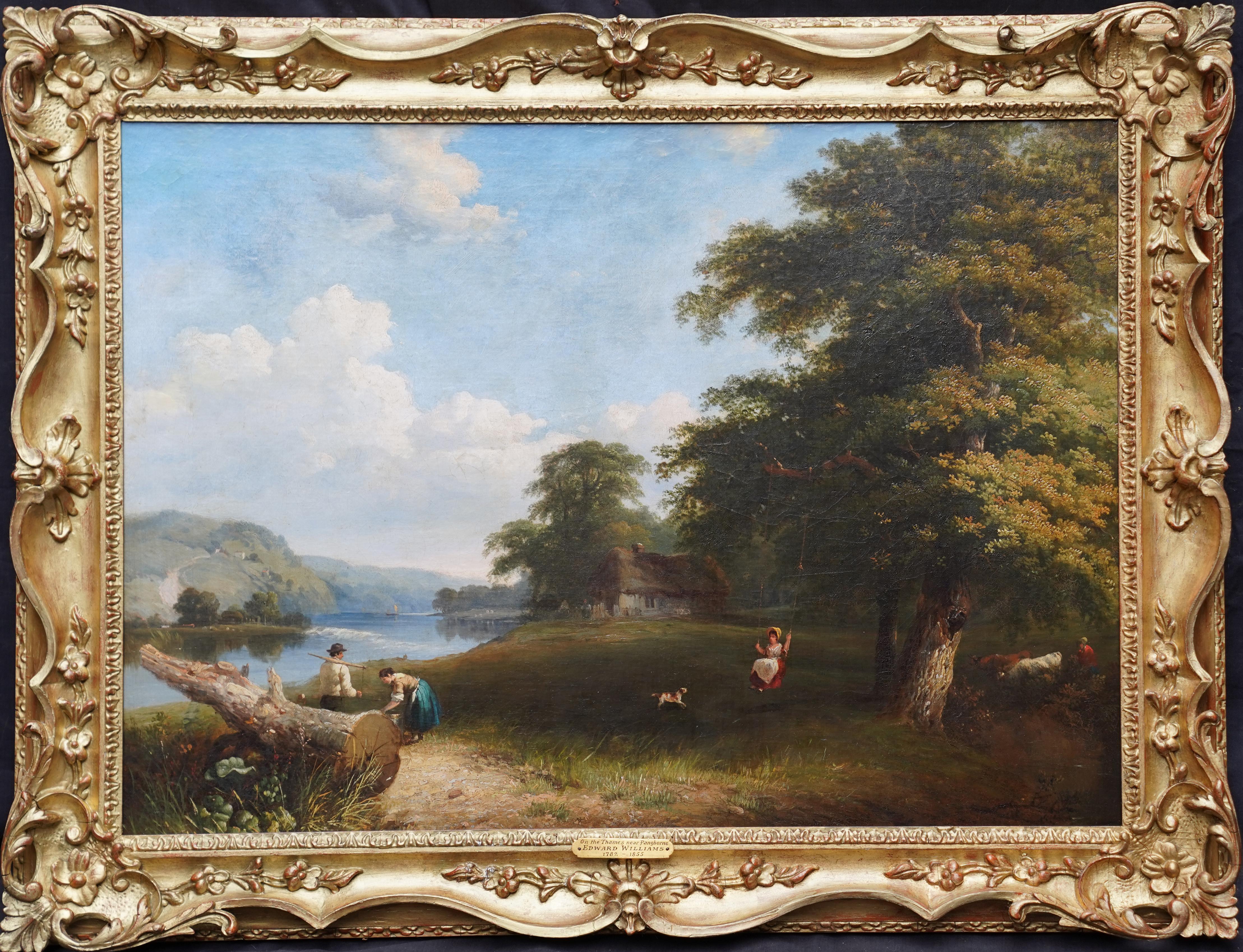 Thames Pangbourne Landscape - British Victorian art riverscape oil painting