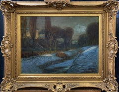 Edward Redfield, Canal in Winter, Oil on Canvas, Period Frame, 1890's