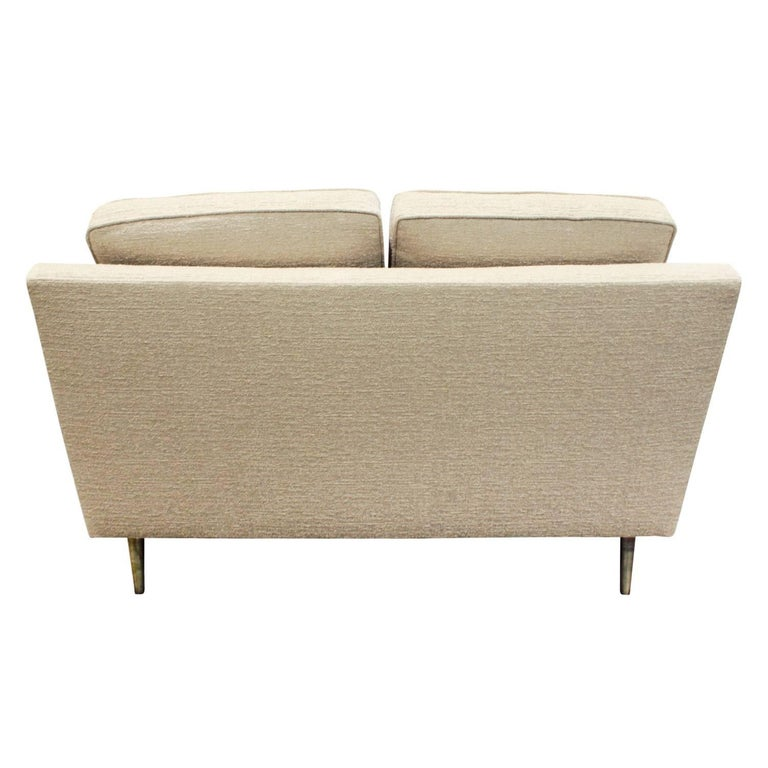 Hand-Crafted Edward Wormley Pair of Rare Settees with Conical Brass Legs, 1948 For Sale