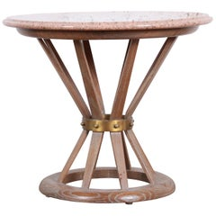 Edward Wormey for Dunbar Style Sheaf of Wheat Marble-Top Side Tables