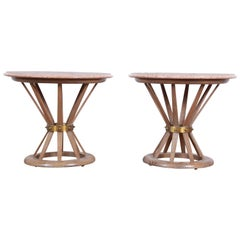 Edward Wormey for Dunbar Style Sheaf of Wheat Marble Top Side Tables, Pair