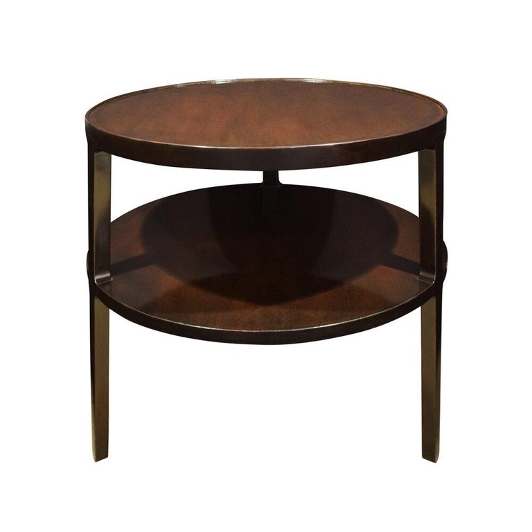 Beautiful 2-tier round side table model 4751 in mahogany by Edward Wormley for Dunbar, American 1947. A Classic Wormley design.