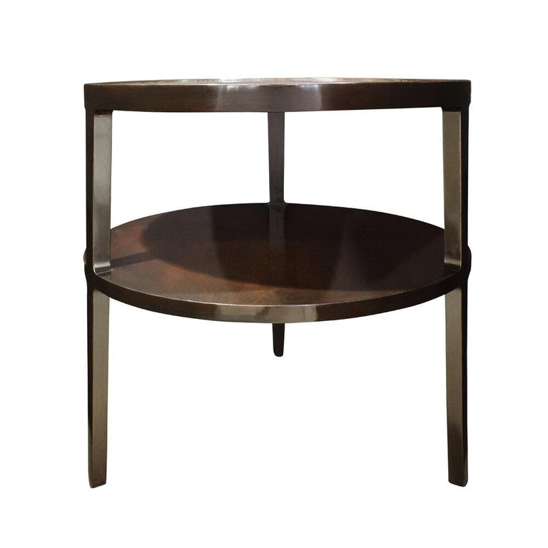 Mid-Century Modern Edward Wormley 2-Tier Round Side Table in Mahogany, 1947 For Sale