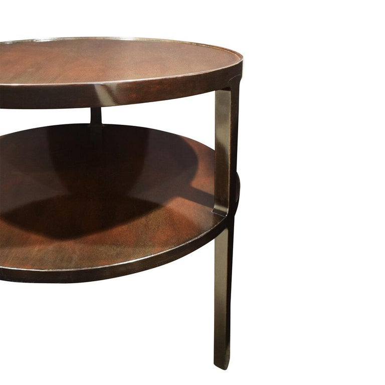 Hand-Crafted Edward Wormley 2-Tier Round Side Table in Mahogany, 1947 For Sale