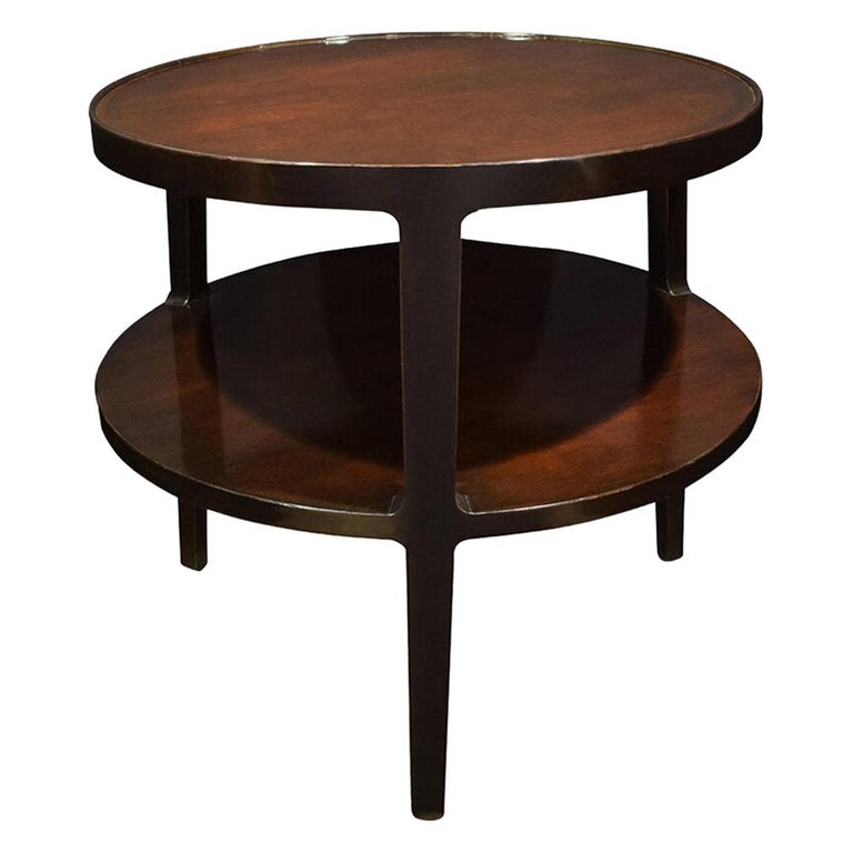 Edward Wormley 2-Tier Round Side Table in Mahogany, 1947 For Sale