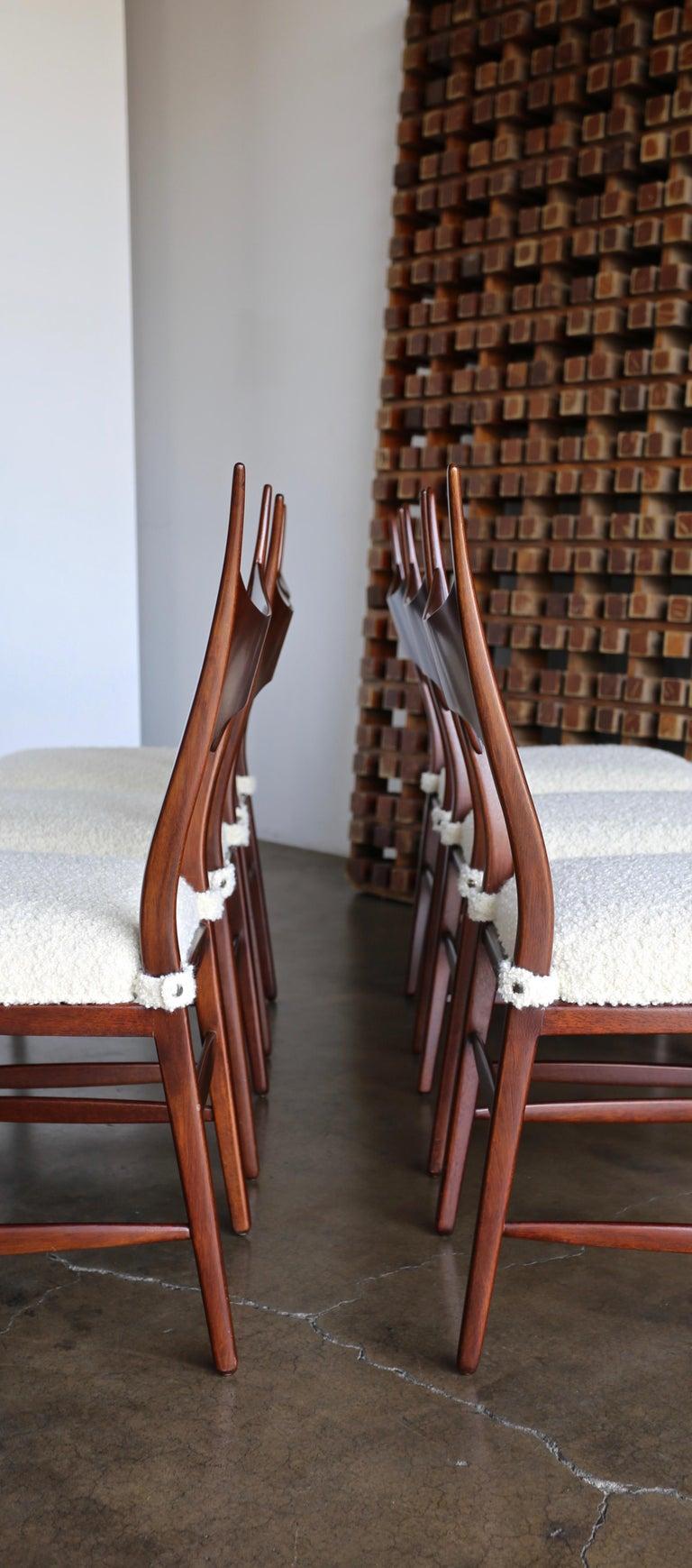 Bouclé Edward Wormley 5580 Dining Chairs for Dunbar, 1950s For Sale