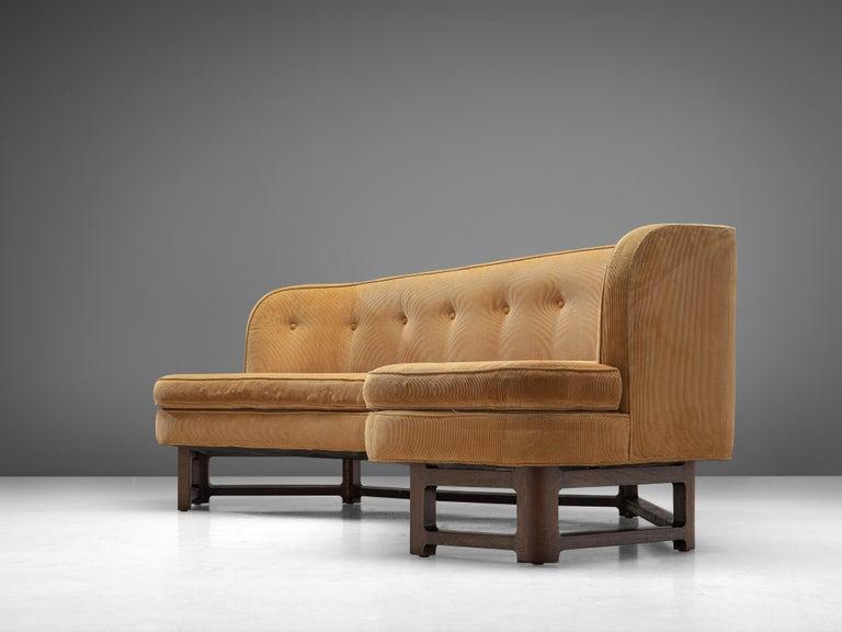 Mid-Century Modern Edward Wormley Angled 'Janus' Sofa in Yellow Fabric For Sale