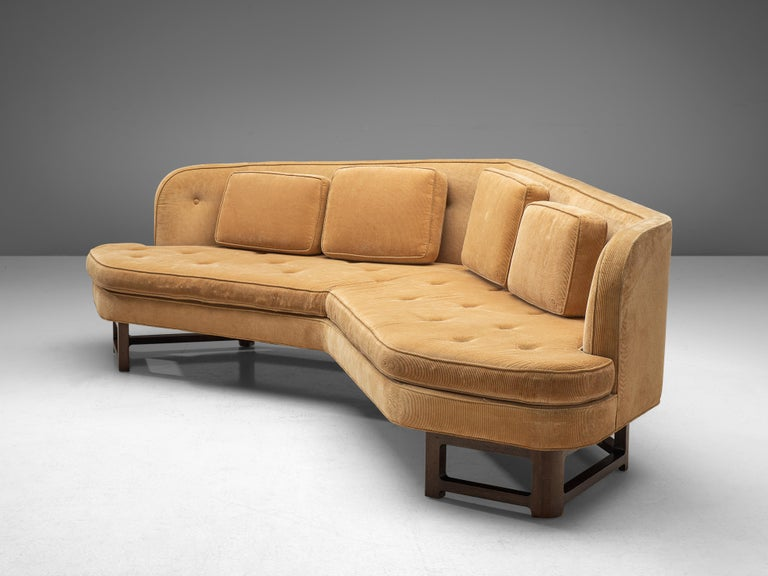 Mid-20th Century Edward Wormley Angled 'Janus' Sofa in Yellow Fabric For Sale