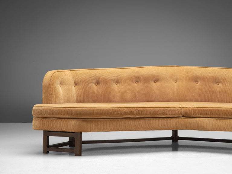 Edward Wormley Angled 'Janus' Sofa in Yellow Fabric For Sale 1