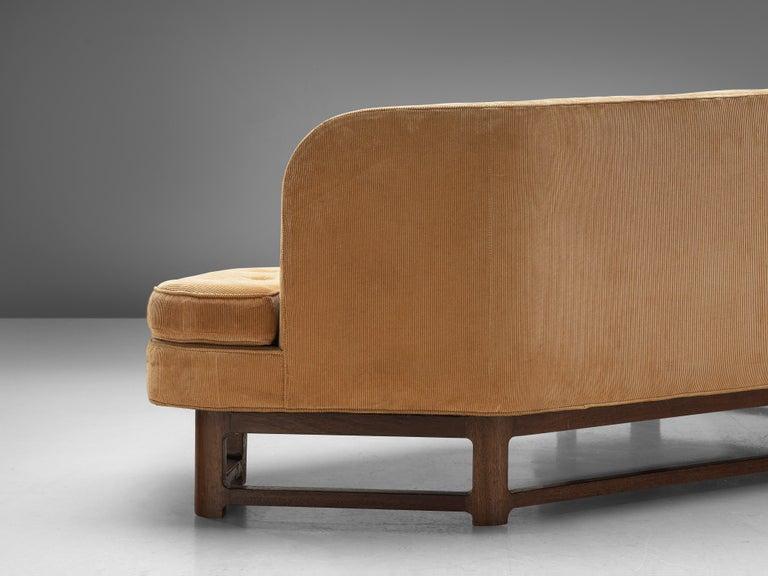 Edward Wormley Angled 'Janus' Sofa in Yellow Fabric For Sale 2