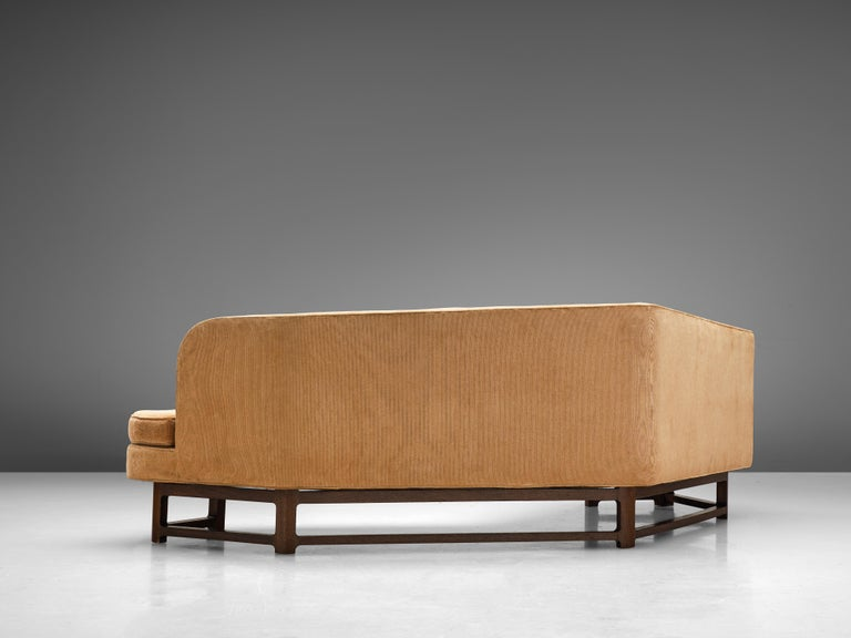 Edward Wormley Angled 'Janus' Sofa in Yellow Fabric For Sale 3