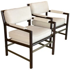 Edward Wormley Armchairs in Ebony, Bronze and Mohair, Pair