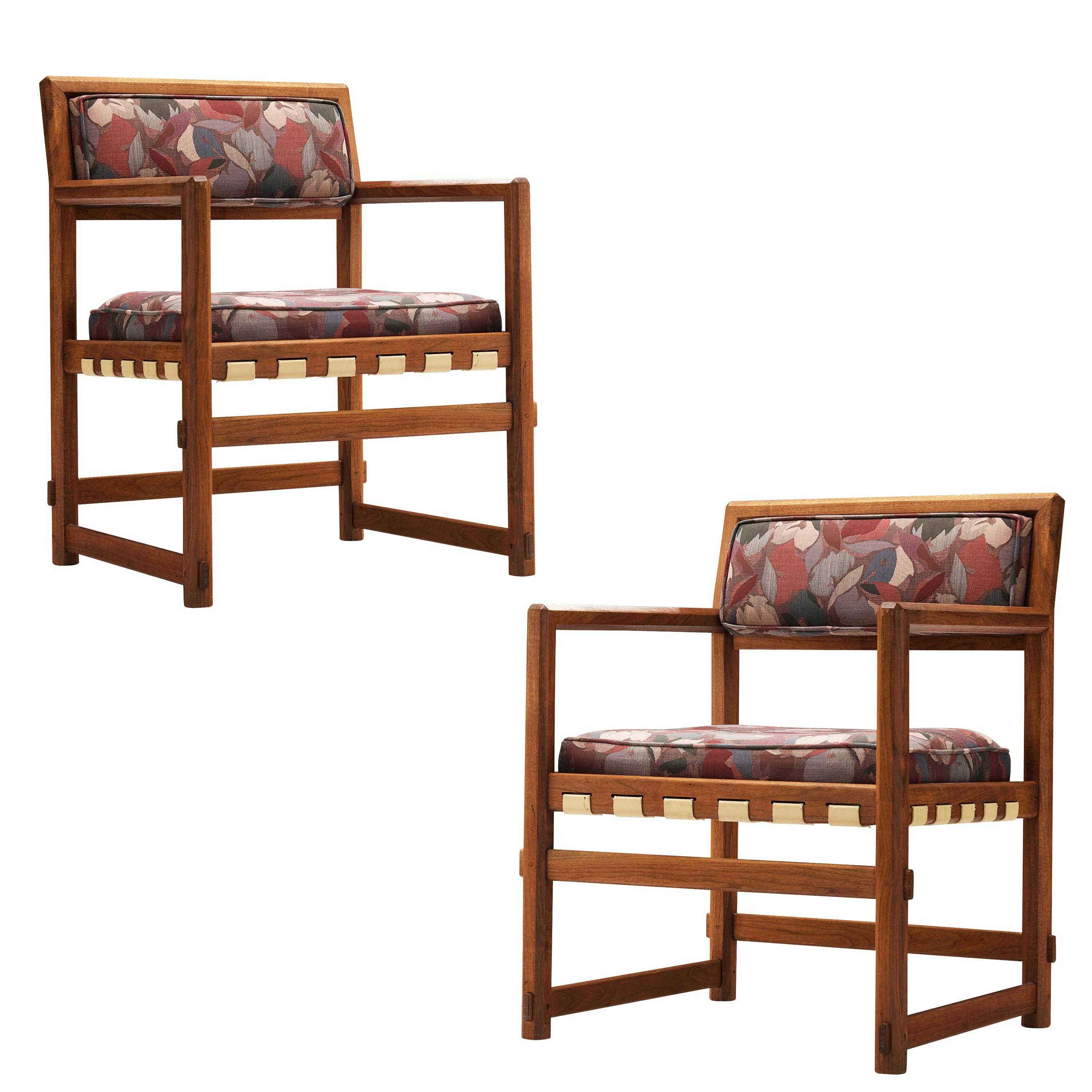 Edward Wormley Armchairs in Patterned Fabric Upholstery