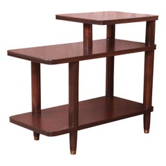 Edward Wormley Attributed Mahogany Step End Table or Nightstand, Refinished