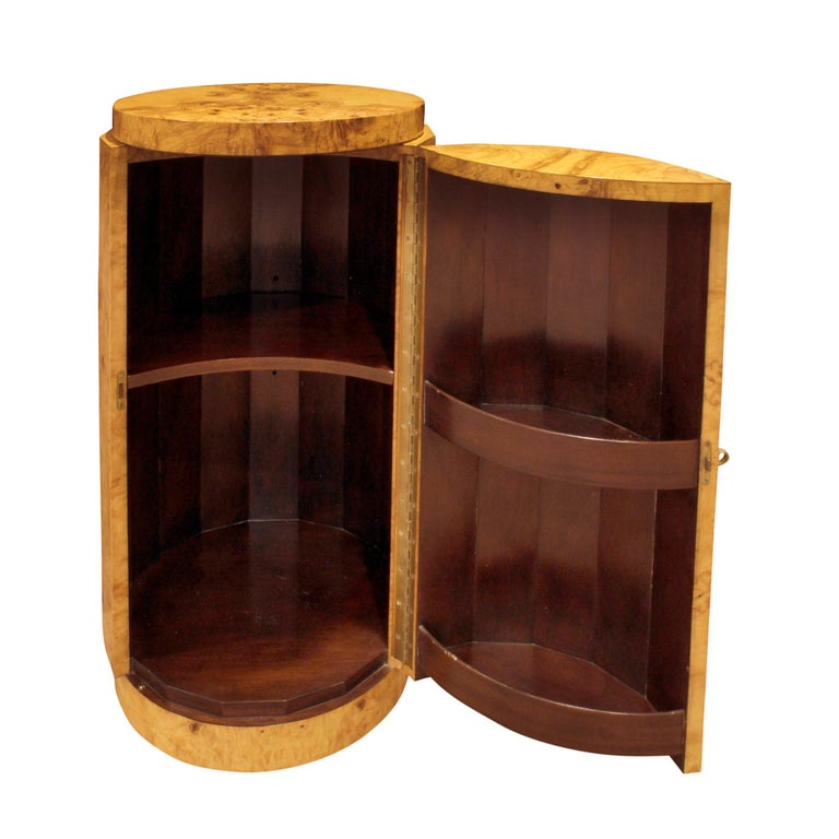 Mid-Century Modern Edward Wormley Beautiful Pedestal Cabinet in Olive Burl, 1963 For Sale