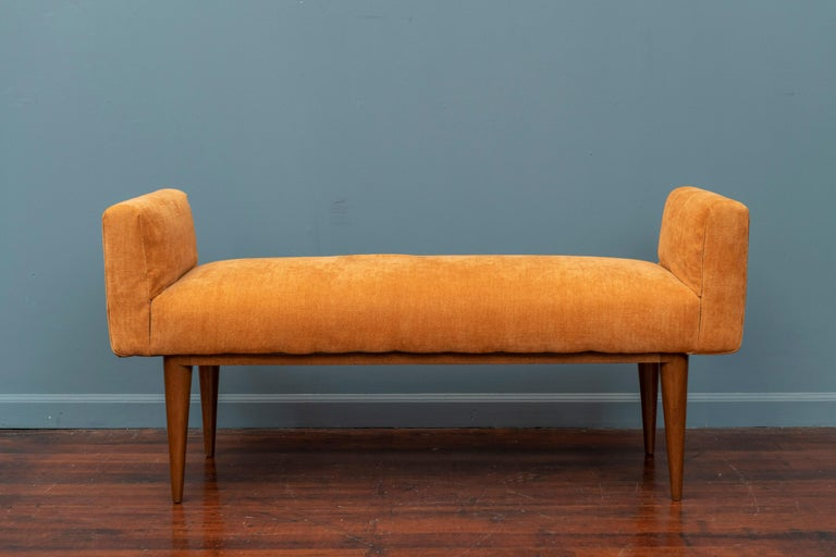 Edward Wormley design upholstered bench for Dunbar Furniture Co. The mahogany base has been newly refinished and is ready for your choice of upholstery or usable as-is.