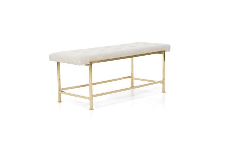 Wormley for Dunbar tubular brass bench model 5429 Reupholstered with great plains nubby cotton-poly.  Tufted buttons and label on underside.