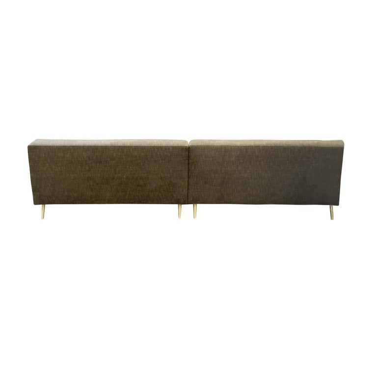 American Edward Wormley Clean-Line Sofa with Conical Brass Legs 1951 For Sale