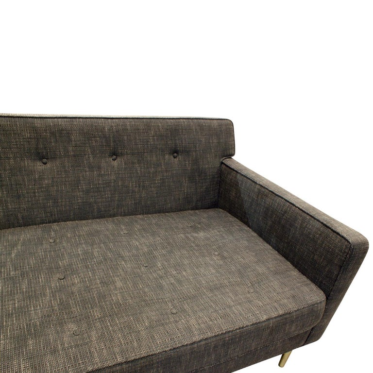 Edward Wormley Clean-Line Sofa with Conical Brass Legs 1951 In Excellent Condition For Sale In New York, NY