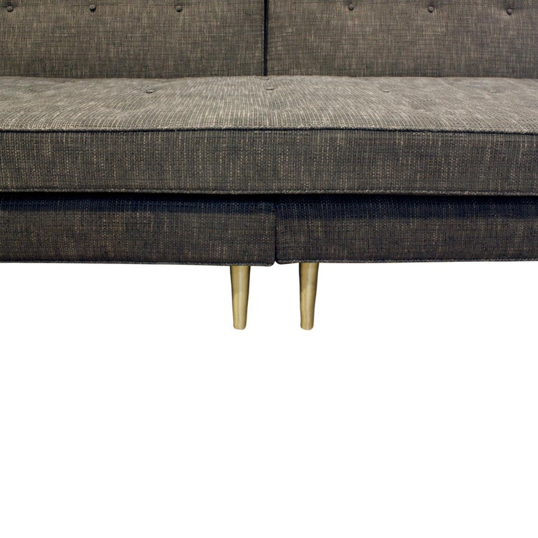 Mid-20th Century Edward Wormley Clean-Line Sofa with Conical Brass Legs 1951 For Sale