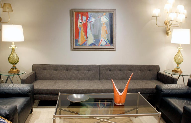 Edward Wormley Clean-Line Sofa with Conical Brass Legs 1951 For Sale 2