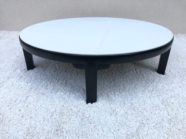 Mid-Century Modern Edward Wormley Dubar off White Leather Top Dark Walnut Cocktail Table For Sale