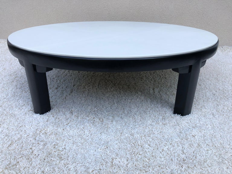 American Edward Wormley Dubar off White Leather Top Dark Walnut Cocktail Table For Sale