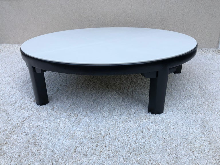 Edward Wormley Dubar off White Leather Top Dark Walnut Cocktail Table In Good Condition For Sale In Westport, CT