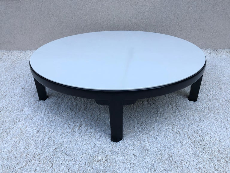 20th Century Edward Wormley Dubar off White Leather Top Dark Walnut Cocktail Table For Sale