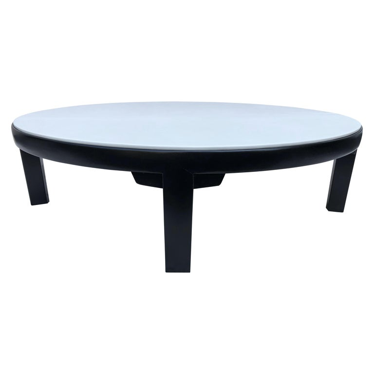 Edward Wormley Dubar off White Leather Top Dark Walnut Cocktail Table For Sale