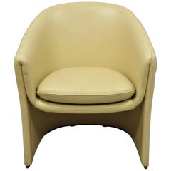 Edward Wormley Dunbar Beige Leather Sculptural Club Lounge Barrel Back Chair