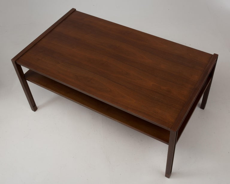 Coffee or cocktail table designed by Edward Wormley for Dunbar. The opening between the top and lower shelf is 6.1