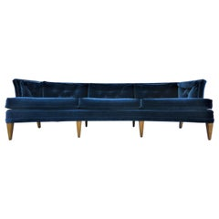 Edward Wormley Dunbar Curved & Tufted Down Pillow Sofa in Italian Velvet, 1950s