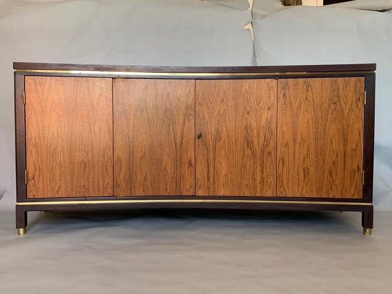 Edward Wormley Dunbar Custom Credenza Rosewood Curved Front In Distressed Condition For Sale In St.Petersburg, FL